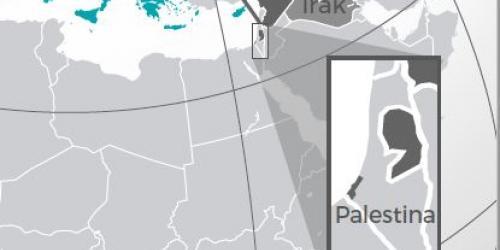image d'une carte montrant la Palestine